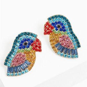 🆕 Multi Faux Stone Parrot Statement Earrings NWT